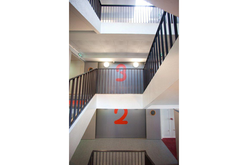 détail escalier Résidence Universitaire Teilhard de Chardin à Reims